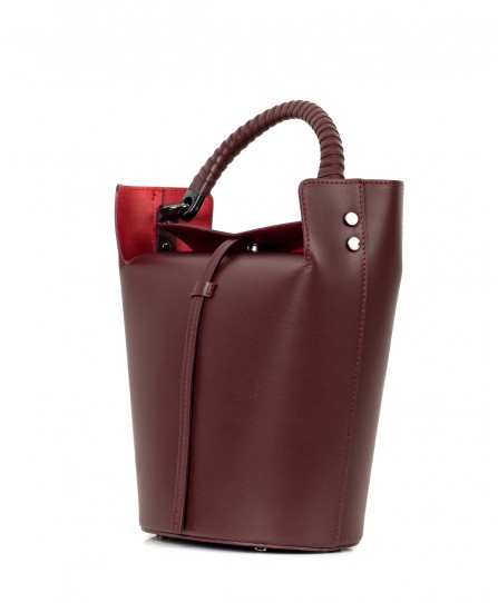 Leather women's bucket bag 93131