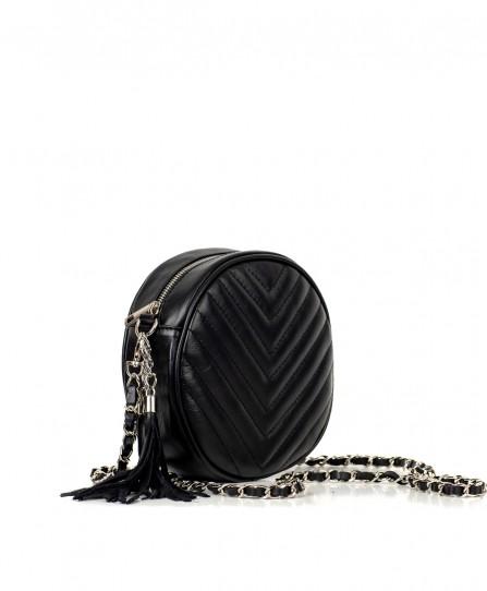 Шкіряна жіноча кругла сумка 92611