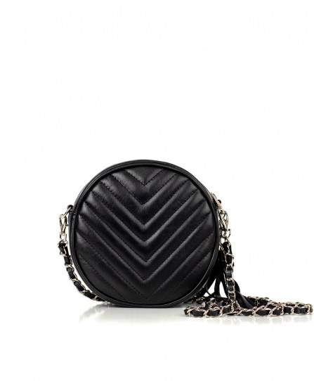 Кожаная женская круглая сумка 92611