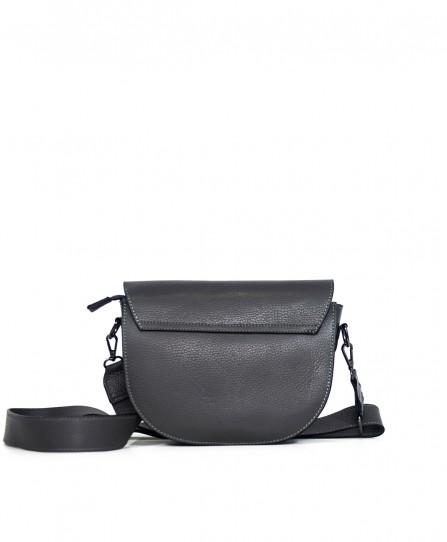 Шкіряна жіноча сумка через плече з широкою шлейкою 93678G