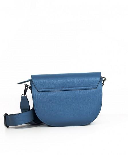 Шкіряна жіноча сумка через плече з широкою шлейкою 93678Bl
