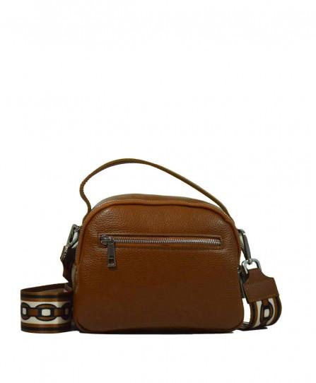 Шкіряна жіноча сумка через плече з широкою шлейкою 93730