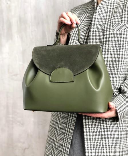 Шкіряна жіноча сумка-саквояж 93213