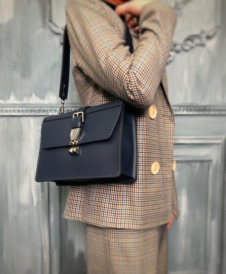 Кожаная женская сумка через плечо 93165BL