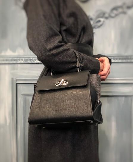 Кожаная женская сумка через плечо 91489Black