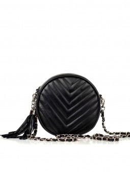 Leather women's round bag 92611