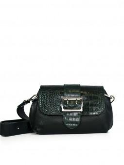 Шкіряна жіноча сумка через плече з широкою щлейкою 93848