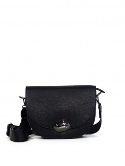 Шкіряна жіноча сумка через плече з широкою шлейкою 93678