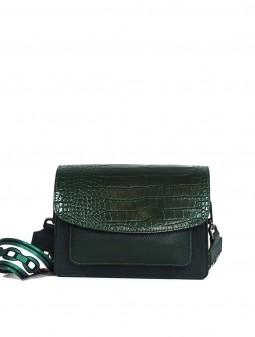 Шкіряна жіноча сумка через плече з широкою шлейкою 93921G