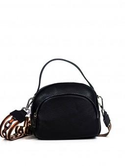 Шкіряна жіноча сумка через плече з широкою шлейкою 93730B